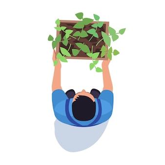 Садовник с горшечным растением полуплоской цветовой векторной иллюстрацией rgb. мужчина-фермер с собранным урожаем. сельское хозяйство и сельское хозяйство. агроном изолированные мультипликационный персонаж вид сверху на белом фоне