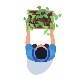 Gardener with potted plant semi flat rgb color vector illustration. male farmer with harvested crop. agriculture and farming. agronom isolated cartoon character top view on white background