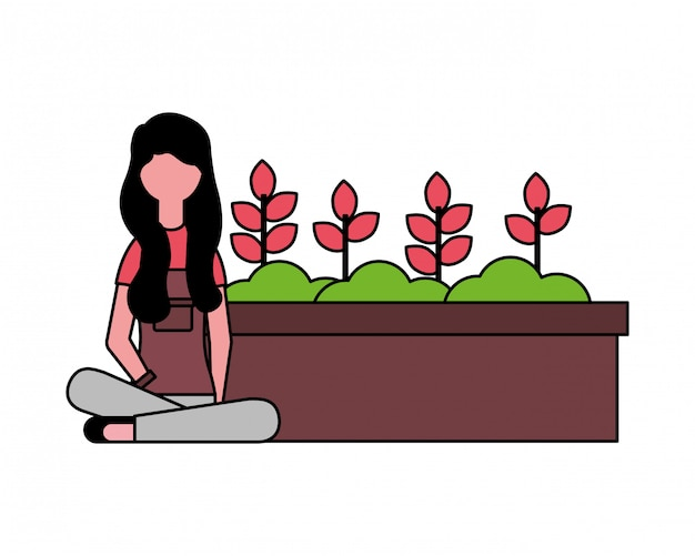 Gardener woman with potted plants