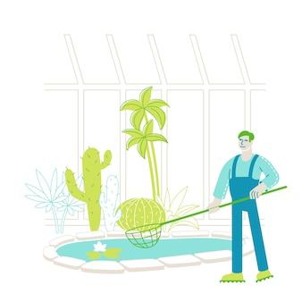 庭師の労働者または植物学者の科学者のキャラクターが浮かぶ蓮の花を捕まえる
