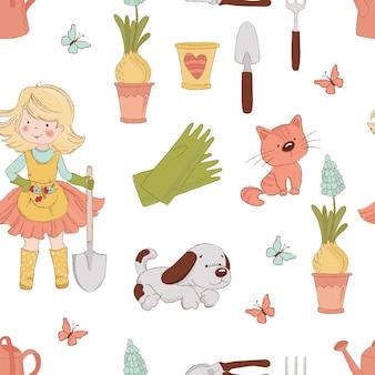 Gardener春の仕事のシームレスパターン