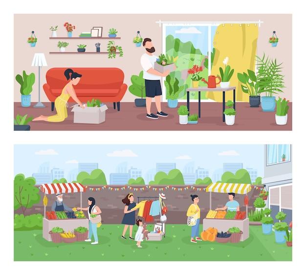 庭師と農家のフラットカラーイラストセット