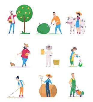 庭師と農民。幸せなキャラクターの成長野菜農業労働者は漫画の人々をベクトルします。庭師の農業と収穫、農民の農業のイラスト