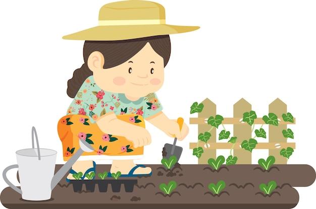 정원사는 야채를 재배하고 있습니다.