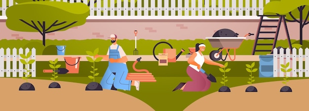 Пара садовников заботится о растениях люди работают вместе сажают садовые цветы на заднем дворе концепция садоводства полная длина горизонтальная иллюстрация