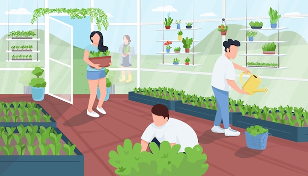 Gardeners in greenhouse flat color illustration