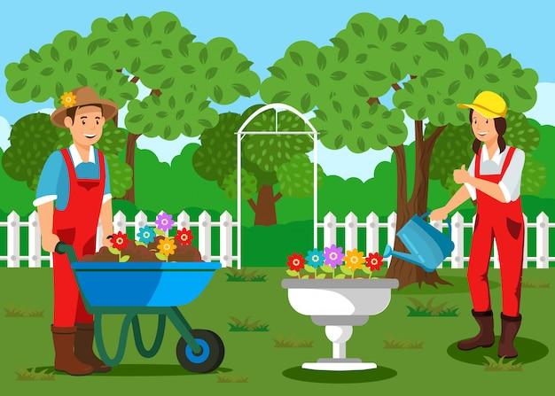 Gardeners planting flowers cartoon illustration