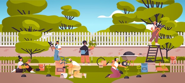 Садовники, заботящиеся о растениях, люди, работающие вместе, сажают садовые цветы на заднем дворе, концепция садоводства в полный рост, горизонтальная иллюстрация