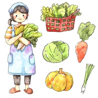 庭師の女性と野菜