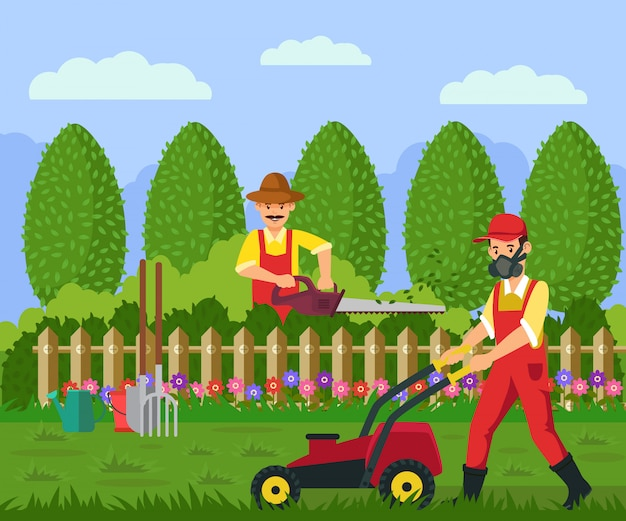 Gardeners working in yard vector illustration