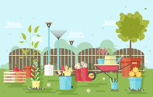 Gardening and agriculture equipment and tools against wooden fence and garden plants