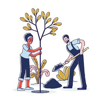 ガーデニングと農業の人々は公園に木を植えます