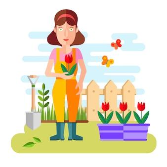 Садоводство и садоводство, хобби инструменты, овощи ящик и растения.