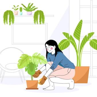 Садоводство дома концепции с женщиной