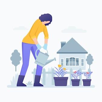 植物に水をまく女と家でガーデニングイラスト