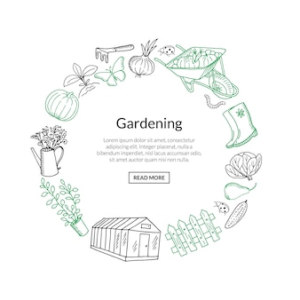 Gardening banner doodle icons in circle form