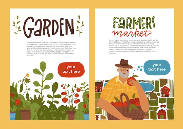 Gardening a banner set idea of local farming and harvesting fruit and vegetable organic harvest leaf...