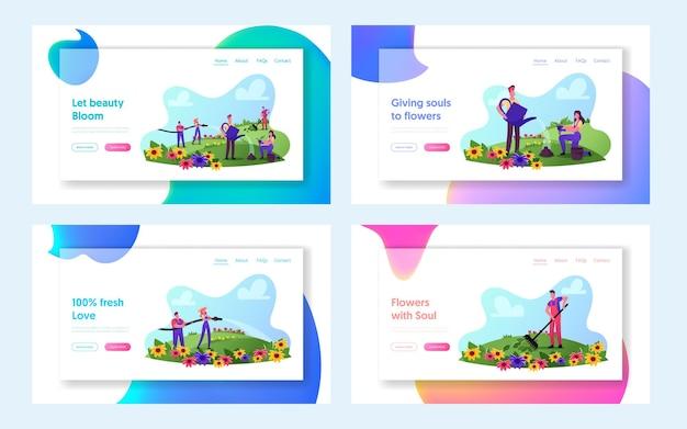 ガーデニングビジネス、アウトドアアクティビティランディングページテンプレートセット。フィールドレーキ、水やり、芽キャベツの植栽における花の作業用オーバーオールケアにおける庭師のキャラクター。漫画の人々のベクトル図