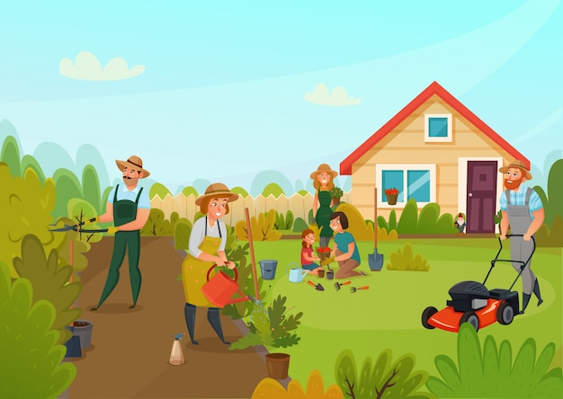 Gardening cartoon composition