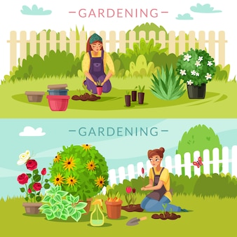 Gardening cartoon horizontal banners set