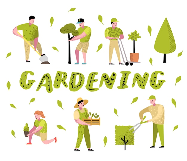 Gardening cartoons set. funny simple characters with plants and trees