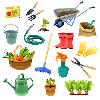 Gardening decorative color icons