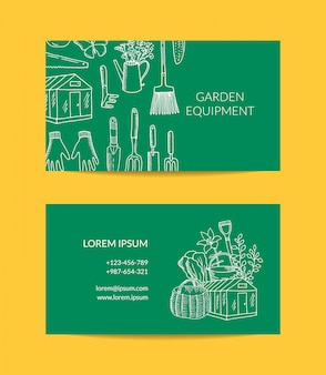Gardening doodle icons business card
