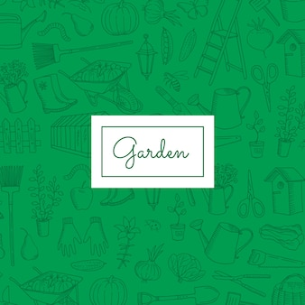 Gardening doodle icons with copy space
