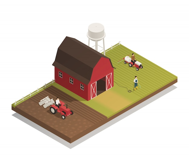 Gardening farm machinery isometric composition