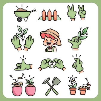 Gardening farming cute cartoon farmer handdrawn icon collection and farming tools green thumb