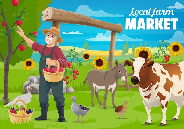 Gardening and farming, farmer and farm animals