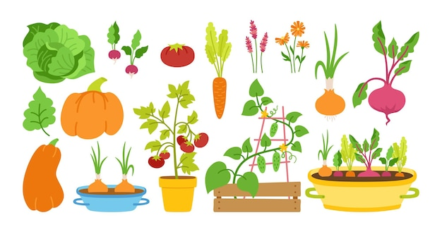 Садоводство плоский мультяшный набор