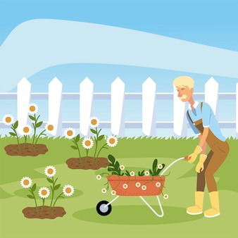 Gardening, gardener with wheelbarrow planting flowers  illustration