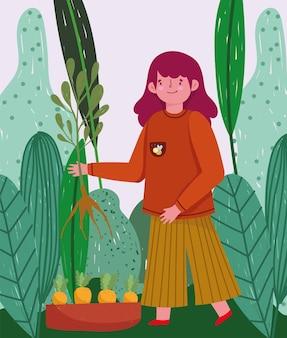 ガーデニング、ニンジンプランテーション植物と自然の葉のイラストを持つ女の子