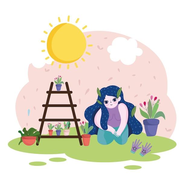 Садоводство, девушка в перчатках в горшках с цветочными растениями на полке иллюстрации