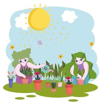 Садоводство, девушки с лейкой заботятся о растениях, растущих в горшках