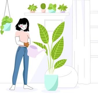 Illustrazione di concetto di giardinaggio a casa con la donna