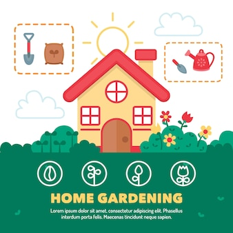 Illustrazione di concetto di giardinaggio a casa
