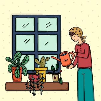 Concetto illustrato di giardinaggio a casa