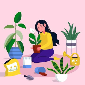 Gardening at home illustrated theme