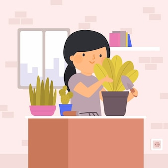 Gardening at home illustration with woman