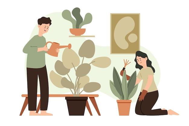 Tema di giardinaggio a casa