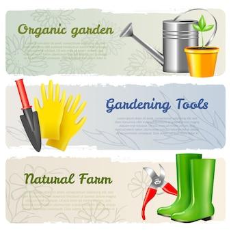 Gardening horizontal banners set