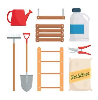 Gardening icon set design, garden planting and nature
