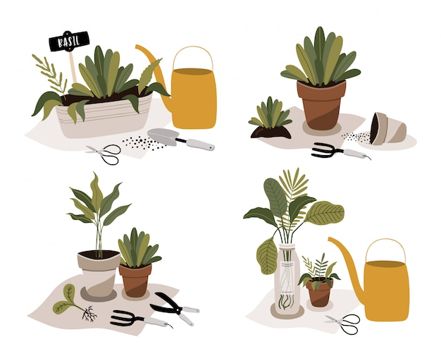 Gardening icons set with plants in pot.