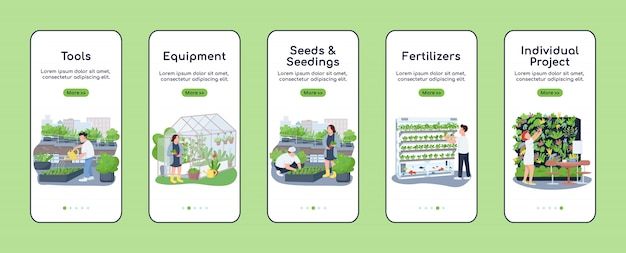 Gardening items onboarding mobile app screen flat  template. garden tools and seedlings. walkthrough website steps with characters. ux, ui, gui smartphone cartoon interface, case prints set