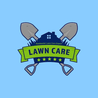 Gardening lawn care company logo badge with shield and shovel