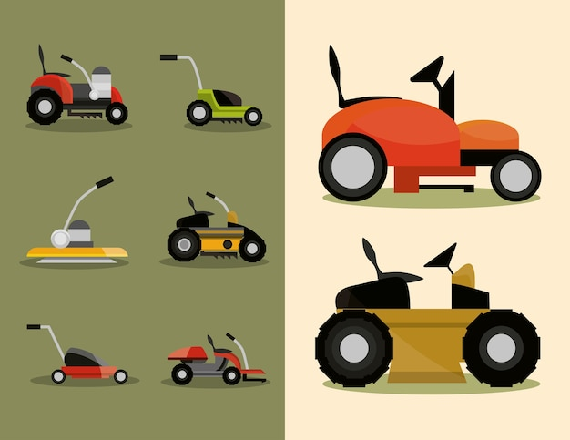 Gardening lawn mower machinery icons set illustration