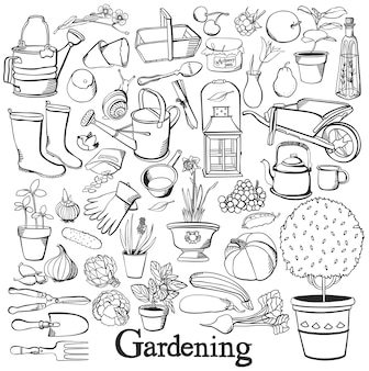 Gardening line icon drawing doodle set