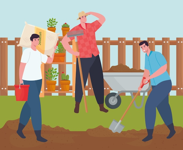 Gardening men with wheelbarrow fertilizer bag rake and shovel design, garden planting and nature